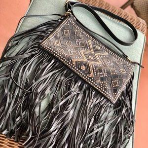 Handbags - Faux Leather Studded Fringe Crossbody Purse